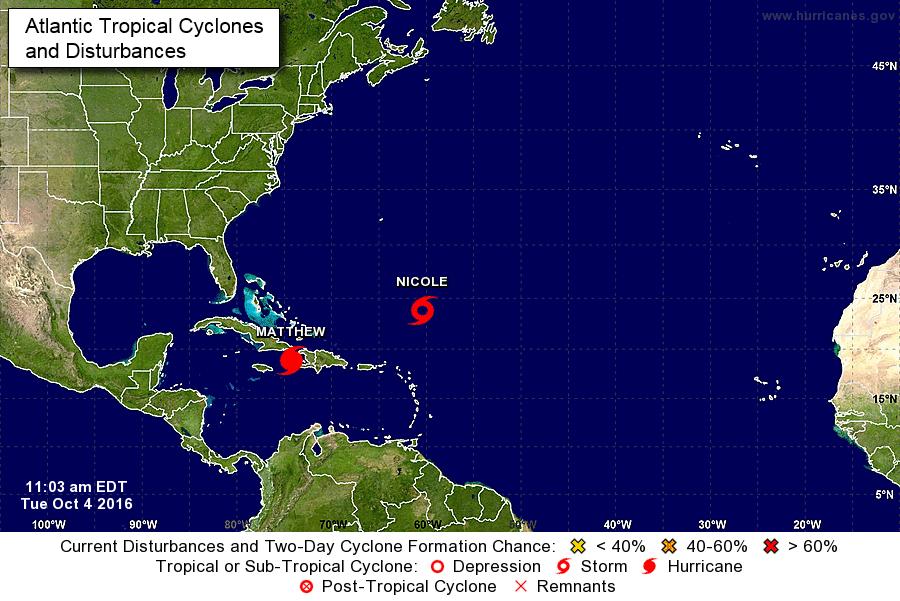 Se forma la tormenta tropical Nicole en el Atlántico