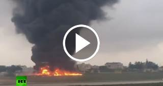 Graban el momento en que se estrella una avioneta en Malta