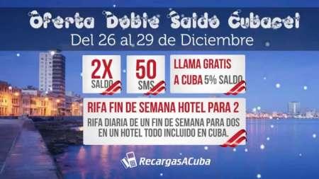 Oferta Doble Saldo Cubacel del 26 al 29 de Diciembre en RecargasaCuba.com