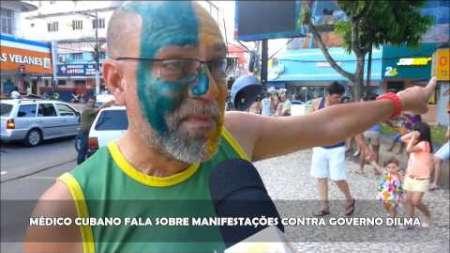 Médico cubano en la manifestación contra el gobierno de Dilma en Brasil